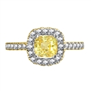 Image for Fancy Yellow Cushion Diamond Shoulder Set Ring