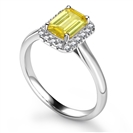 Fancy Yellow Emerald Diamond Halo Ring
