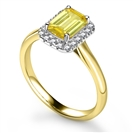 Image for Fancy Yellow Emerald Diamond Halo Ring