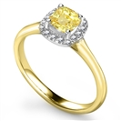 Image for Fancy Yellow Cushion Diamond Cluster Ring