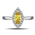 Fancy Yellow Marquise Diamond Halo Shoulder Set Ring