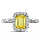 Image for Fancy Yellow Emerald Diamond Halo Shoulder Set Ring