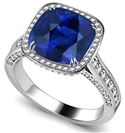 Image for Cushion Blue Saphhire & Diamond Single Halo Ring