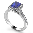 Image for Radiant Blue Sapphire & Diamond Halo Ring