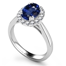 Image for Oval Blue Sapphire & Diamond Halo Ring