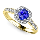 Image for Cushion Blue Sapphire & Diamond Single Halo Shoulder Set Ring
