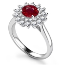 Image for Elegant Round Ruby Diamond Halo Ring