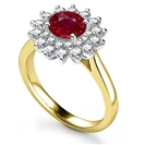 2.00ct VS/AAA Red Ruby/Diamond Gemstone Ring
