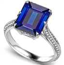 Knife Edge Blue Sapphire Emerald & Round Diamond Vintage Ring
