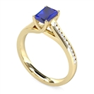 Image for Emerald Blue Sapphire Diamond Shoulder Set Ring