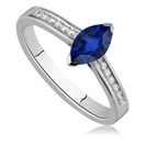 Two Prong Marquise Blue Sapphire/Round Shoulder Set Ring
