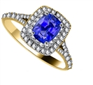 Image for Cushion Blue Sapphire & Diamond Double Halo Shoulder Set Ring