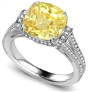 Ribbon Cushion Yellow Diamond Vintage Ring