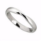 3mm Court Shaped Wedding Band, Szie U, 18CT WHITE GOLD