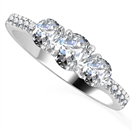 3 Stone Diamond Ring with Shoulder Diamonds
