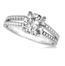 Split Shoulder Round Diamond Engagement Ring