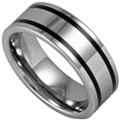 8MM Pipe Cut Tungsten Ring 2 Line Black Inlay, SIZE T