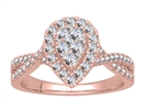 Image for Single Halo Round Diamond Cluster Shoulder Set Ring