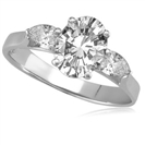 1.00ct SI1/FG Oval/Pear Diamond Trilogy Ring