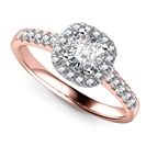 Image for Single Halo Cushion Diamond Ring