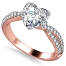 1.10CT VS1/F Heart Diamond Shoulder Set Ring