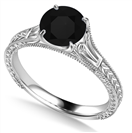 Image for Unique Single Black Diamond Vintage Filgree Style Ring