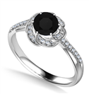 Floral Halo Black Diamond Infinity Ring