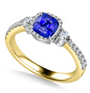 Image for Cushion Blue Sapphire Ring With Halo Shoulder Diamonds