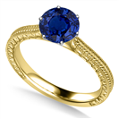 Image for Unique Single Blue Sapphire Vintage Filgree Style Ring