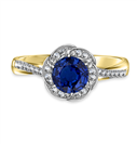 Image for Floral Halo Blue Sapphire Infinity Ring