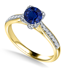 Image for Modern Round Blue Sapphire & Diamond Square Halo Ring