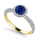 Image for Round Blue Sapphire Single Halo Engagement Ring