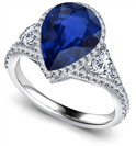 Image for Pear Blue Sapphire Diamond Split Shoulder Set Ring