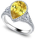 Image for Pear Yellow Diamond Split Shoulder Set Ring