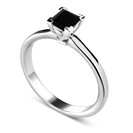 Princess Black Diamond Solitaire Ring