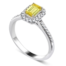 Fancy Yellow Emerald Diamond Halo Shoulder Set Ring