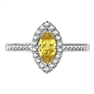 Image for Fancy Yellow Marquise Diamond Halo Shoulder Set Ring