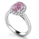 Image for Oval Pink Sapphire & Diamond Halo Ring