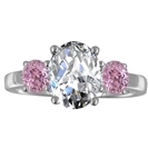 Image for Oval Diamond & Pink Sapphire Trilogy Ring