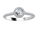 0.50CT VS/EF Petite Round Diamond Halo Ring