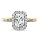 Image for Radiant Diamond Single Halo Shoulder Set Ring