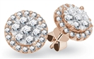Image for 0.75CT VS/FG Round Diamond Halo Cluster Earrings