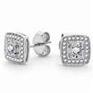 0.50CT VS/EF Round Diamond Halo Earrings