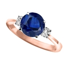 Image for Elegant Blue Sapphire & Diamond Trilogy Ring