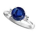 Elegant Blue Sapphire & Diamond Trilogy Ring
