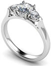 Modern Round & Pear Diamond Trilogy Ring