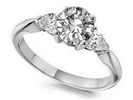 0.75CT SI1/F Round/Pear Diamond Trilogy Ring