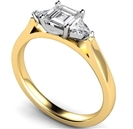 Image for Modern Asscher & Trillian Diamond Trilogy Ring