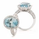 Image for Oval Shaped Aquamarine & Diamond Halo Ring