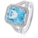 Image for Cushion Shaped Aquamarine & Diamond Halo Ring
